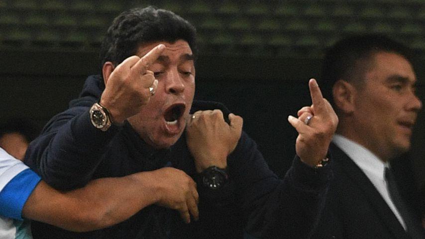 Diego Maradona bei dem Fußball-WM-Spiel Argentinien gegen Nigeria