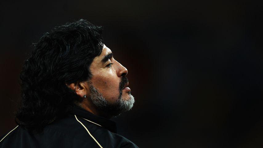Diego Maradona bei der Fußballweltmeisterschaft in Johannesburg, Südafrika, 2010