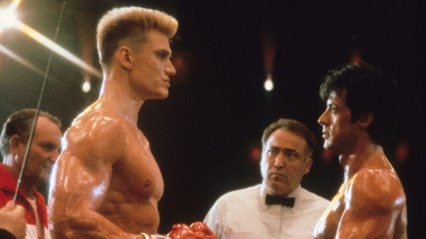 """Dolph Lundgren und Sylvester Stallone bei den Dreharbeiten zu """"Rocky IV"""" 1985"""