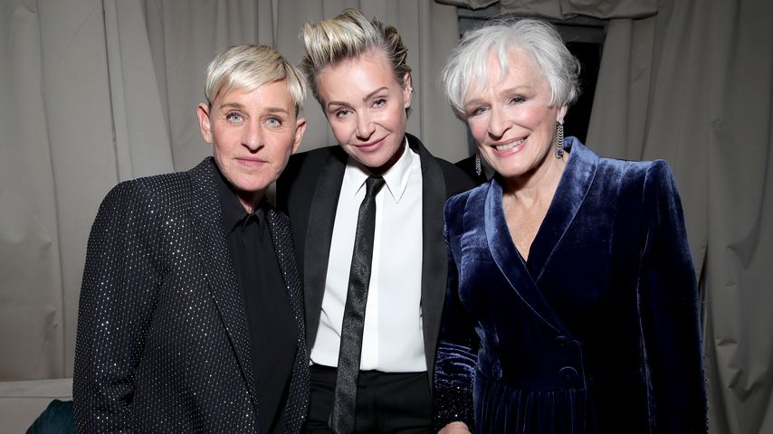 Ellen DeGeneres, Portia de Rossi und Glenn Close auf der Golden Globe Afterparty im Januar 2020