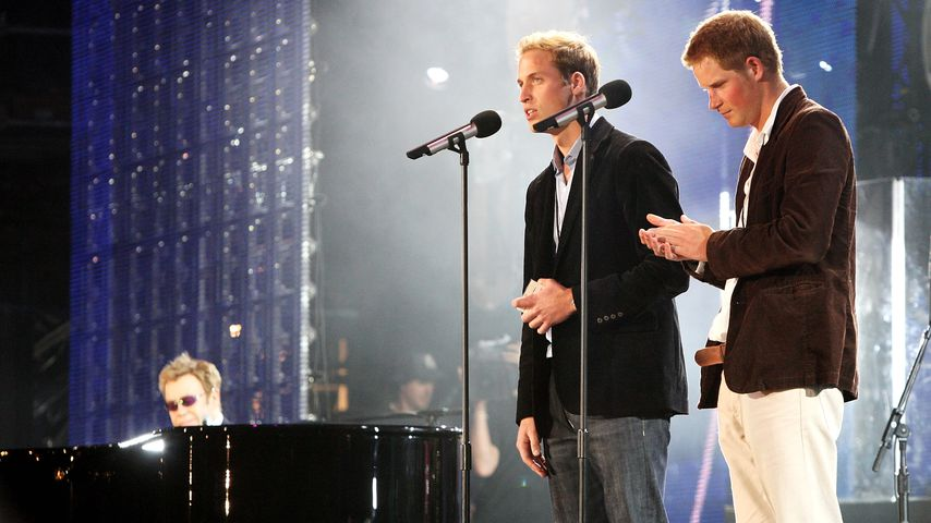 Elton John, Prinz William und Prinz Harry beim Concert For Diana