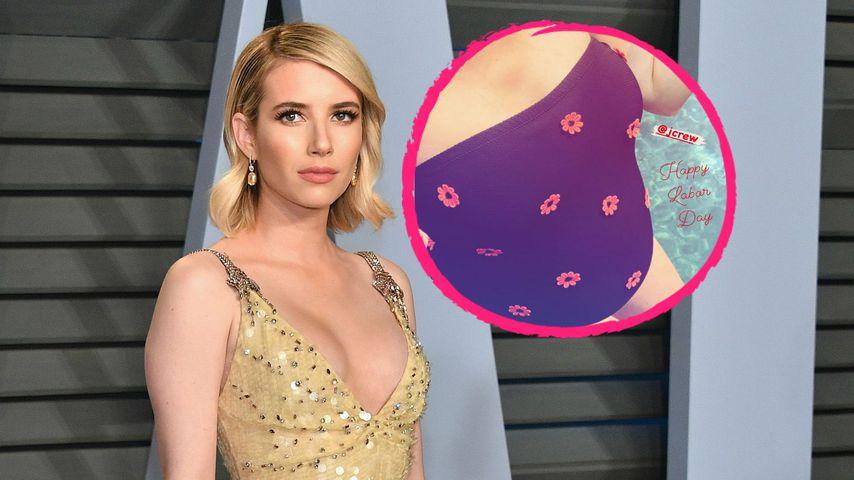 Im geblümten Badeanzug: Emma Roberts zeigt ihren Babybauch