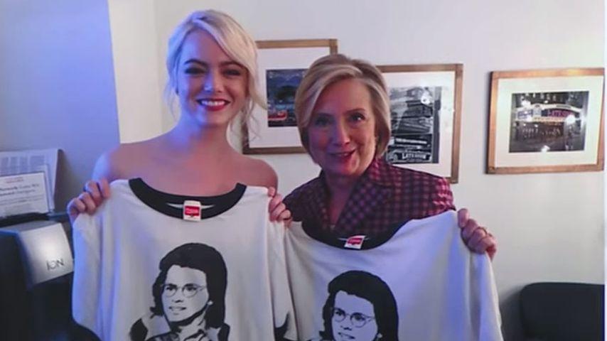 Foto-Fail: Posiert Emma Stone nackt neben Hillary Clinton?