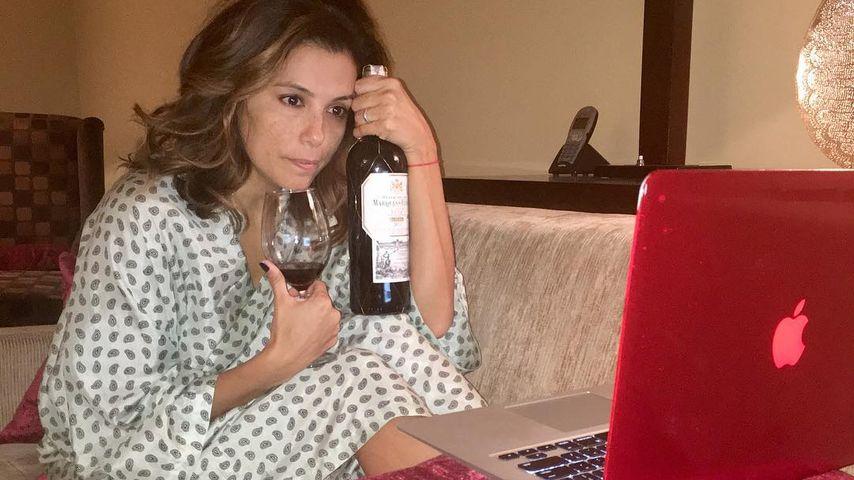 Von wegen schwanger! Eva Longoria kippt eine Flasche Rotwein