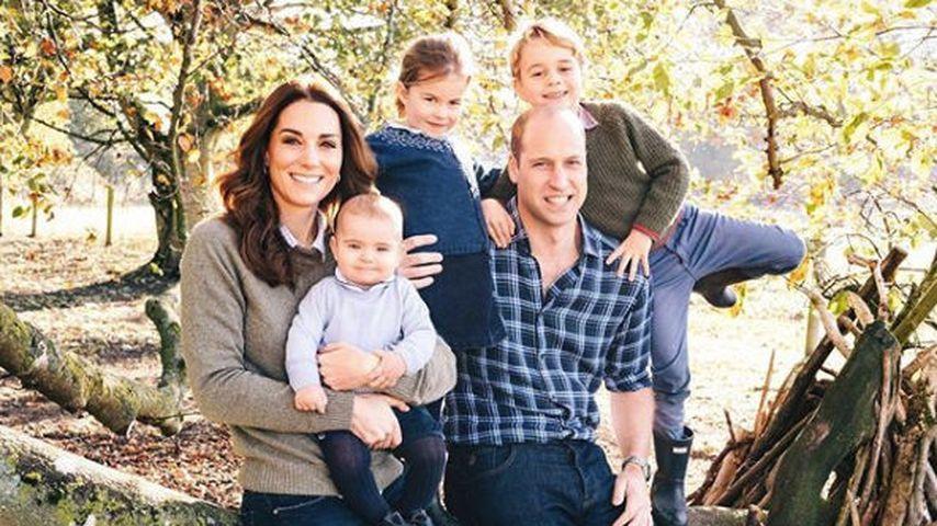 Herzogin Kate und Prinz William mit ihren Kindern Louis, Charlotte und George, Weihnachtskarte 2018