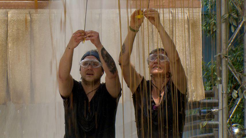 Felix van Deventer und Sandra Kiriasis bei einer Dschungelprüfung