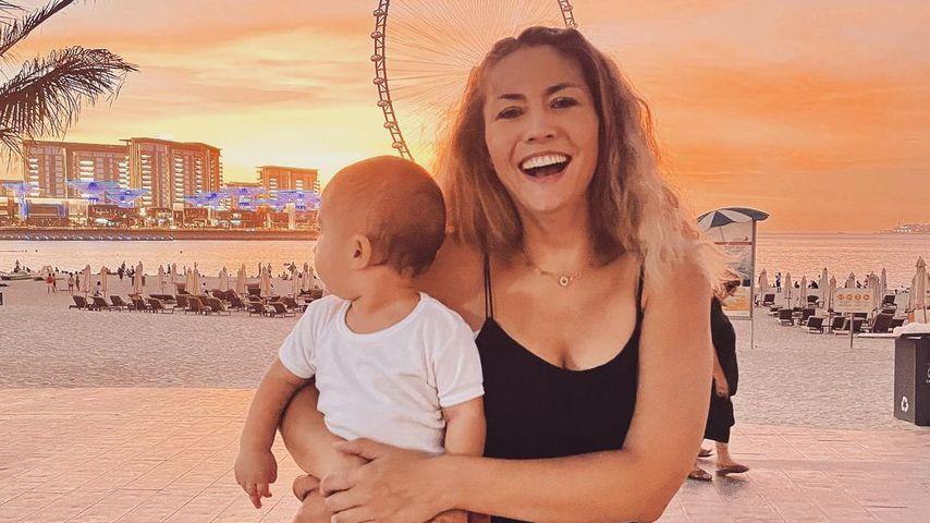 Fiona Erdmann mit ihrem Sohn Leo Luan im Juli 2021