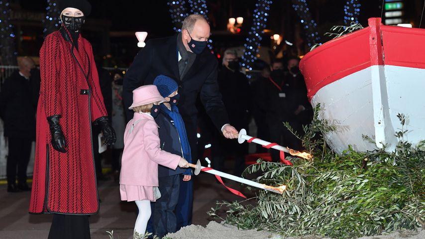 Fürstin Charlène, Fürst Albert und ihre Kinder Prinz Jacques und Prinzessin Gabriella im Januar 2021