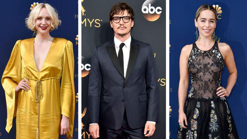 Collage: Gwendoline Christie, Pedro Pascal und Emilia Clarke bei den Emmy Awards