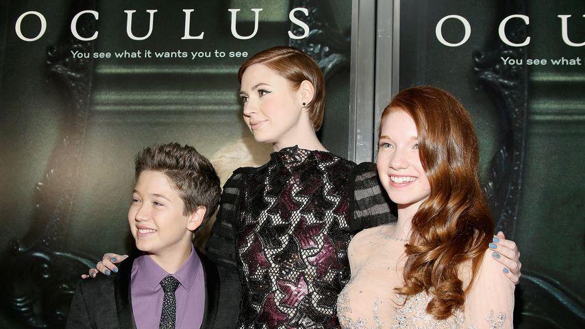 """Garrett Ryan, Karen Gillan und Annalise Basso bei der """"Oculus""""-Premiere"""