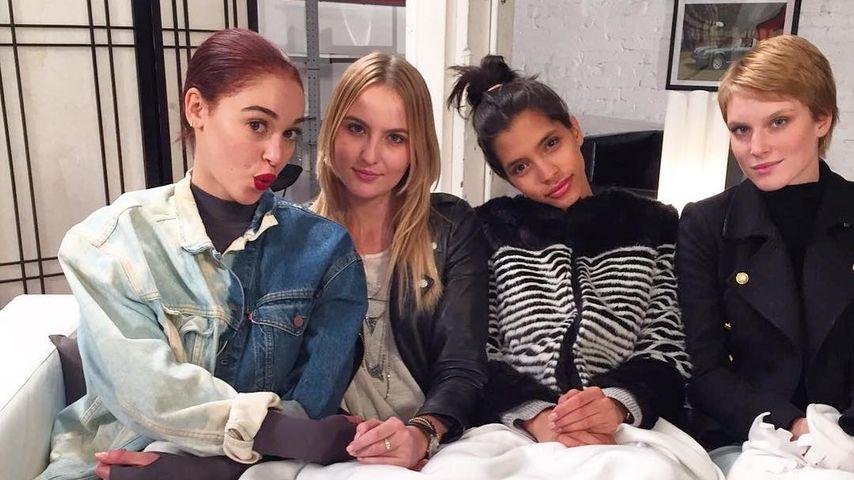 Luana, Laura B., Lara und Kim (v. l.) während GNTM-Dreharbeiten in Los Angeles