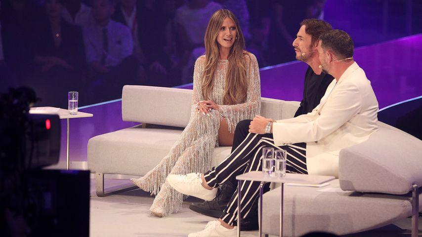"Heidi Klum, Thomas Hayo und Michael Michalsky im Mai 2018 bei ""Germany's next Topmodel"""