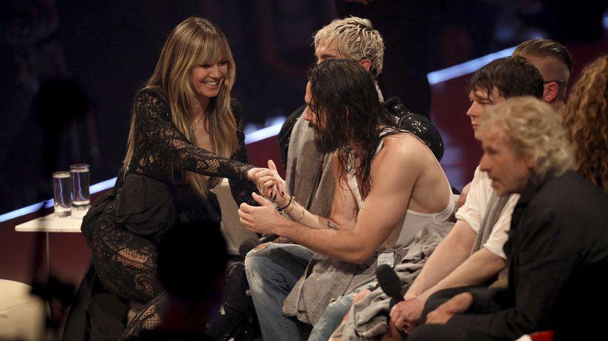 Heidi Klum, Tom Kaulitz und Bill Kaulitz beim GNTM-Finale 2019