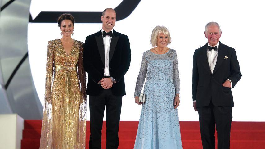 """Herzogin Kate, Prinz William, Herzogin Camilla und Prinz Charles bei der """"James Bond""""-Premiere, 2021"""