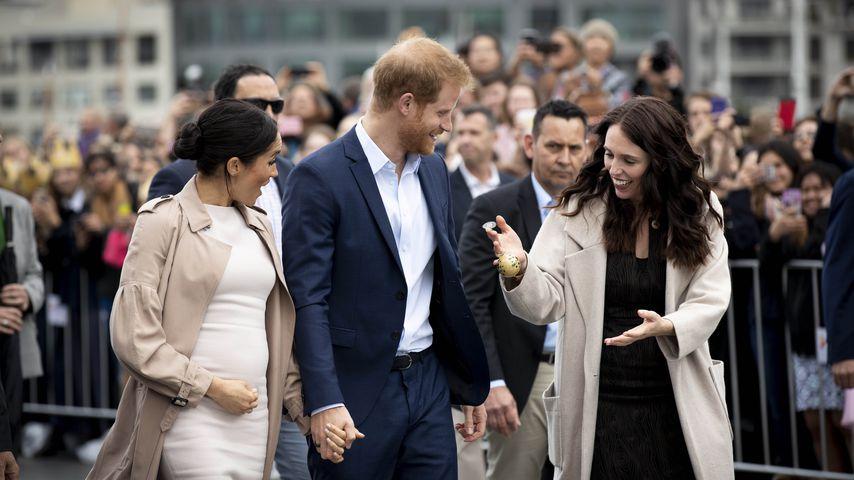 Herzogin Meghan, Prinz Harry und Jacinda Ardern im Oktober 2018, in Neuseeland