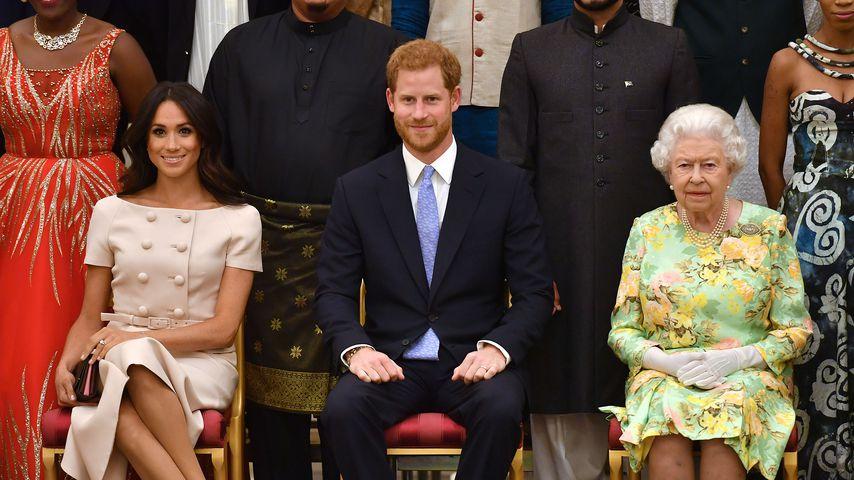 Herzogin Meghan, Prinz Harry und Queen Elizabeth II.