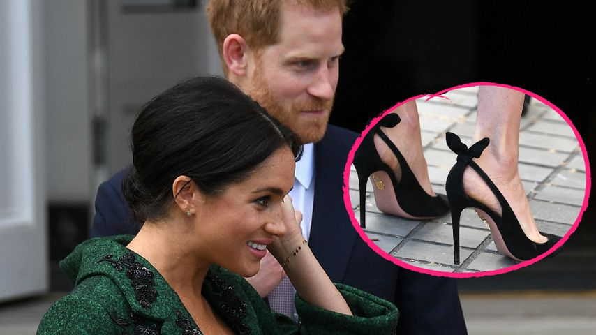 Hochschwangere Herzogin Meghan trägt noch Pfennig-Absätze