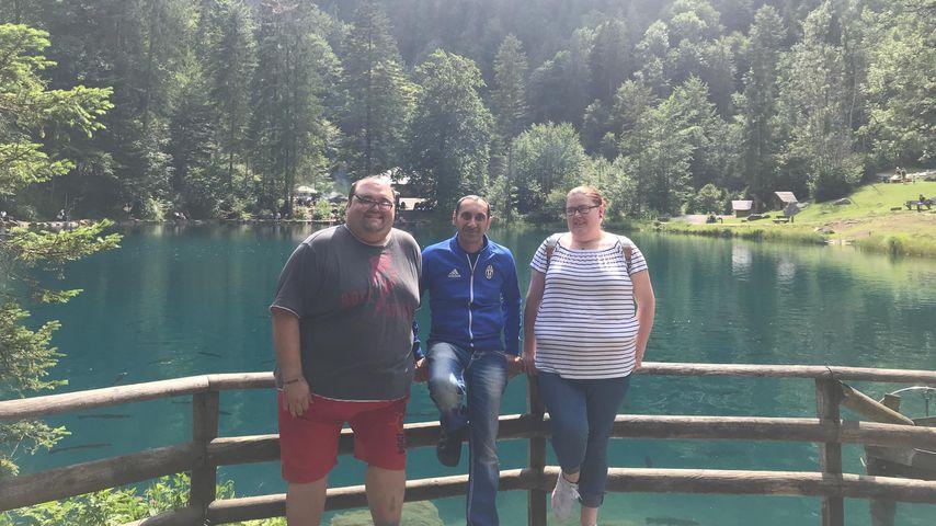 Ingo, Benjamin und Annika an einem See in der Schweiz, Juli 2019
