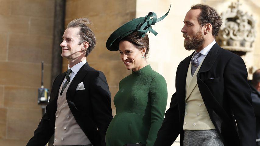 James Matthews mit Pippa und James Middleton an Prinzessin Eugenies und Jack Brooksbanks Hochzeit