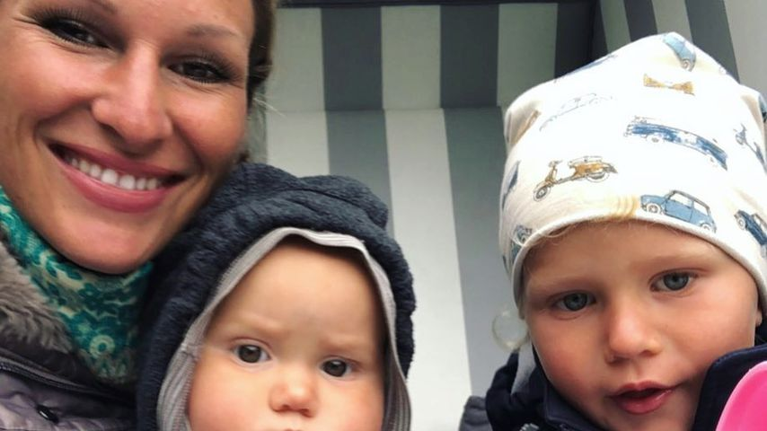 Janni Kusmagk mit ihren beiden Kindern, Mai 2020