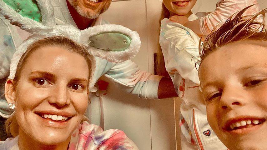 Jessica Simpson und Eric Johnson mit ihren Kindern