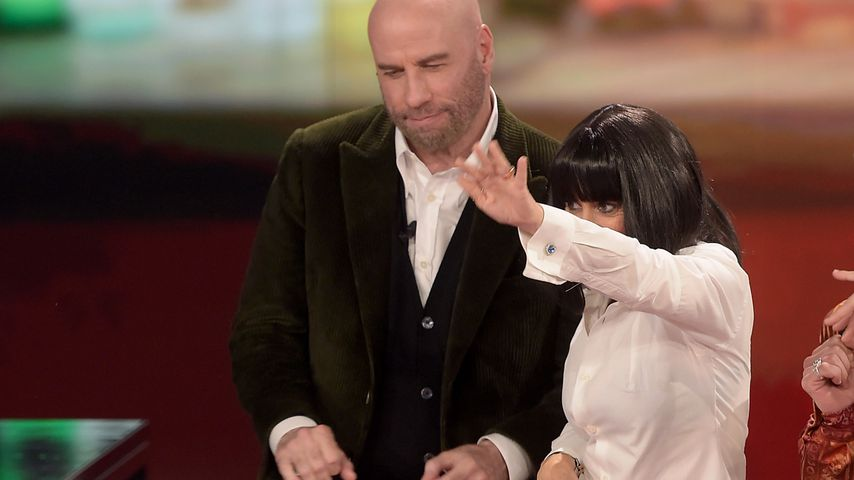 """John Travolta und Luciana Littizzetto in der italienischen Sendung """"Che Tempo Che Fa"""""""