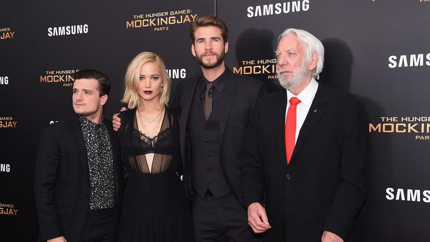 Josh Hutcherson, Jennifer Lawrence, Liam Hemsworth und Donald Sutherland
