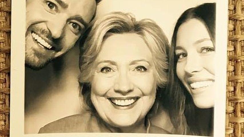 Lustig! Justin & Jessica albern mit Hillary Clinton rum