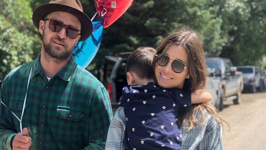 Justin Timberlake, Jessica Biel und ihr Sohn Silas