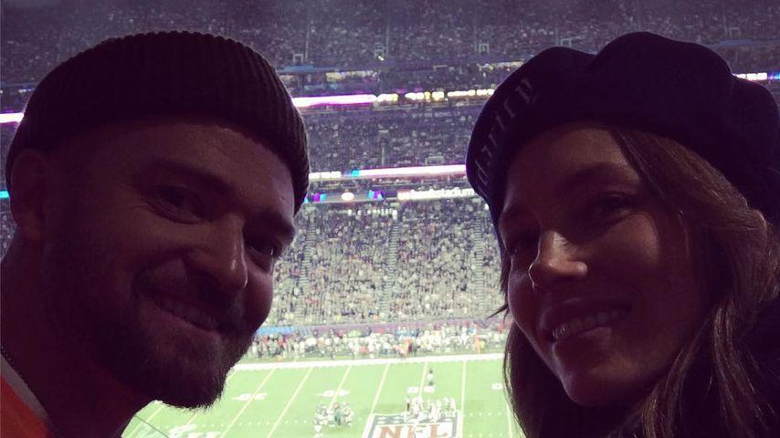 Justin Timberlake und Jessica Biel beim Super Bowl 2018