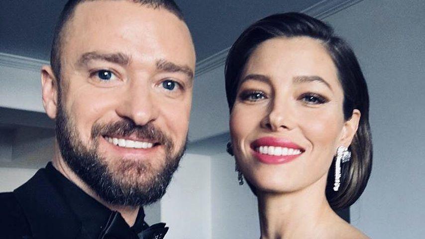 Justin Timberlake und Jessica Biel auf dem Weg zu den Golden Globes 2018