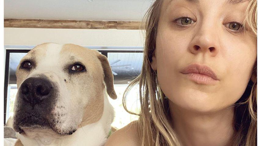 Kaley Cuoco mit ihrem Hund Norman