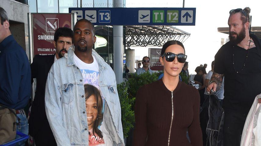 Kanye West und Kim Kardashian am Flughafen von Rom