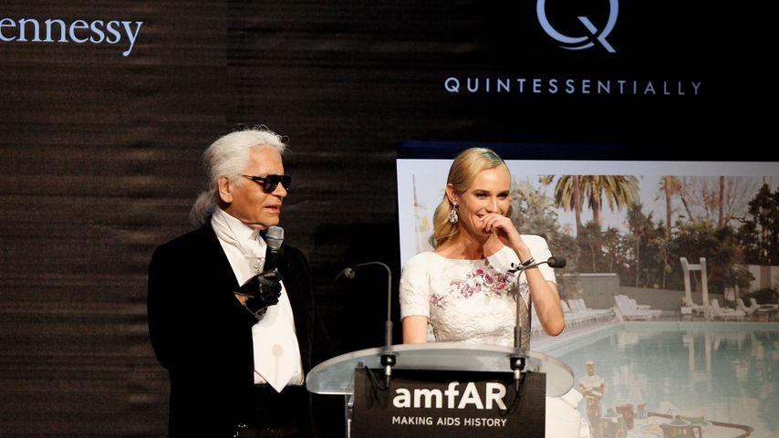 Karl Lagerfeld und Diane Kruger beim Cannes Filmfestival 2012
