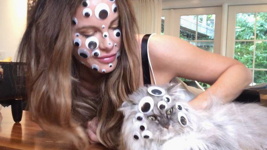 Kate Beckinsale und ihre Katze im Juni 2020
