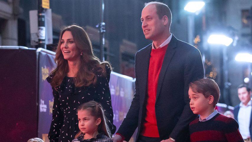 Herzogin Kate und Prinz William mit ihren Kindern Louis, Charlotte und George
