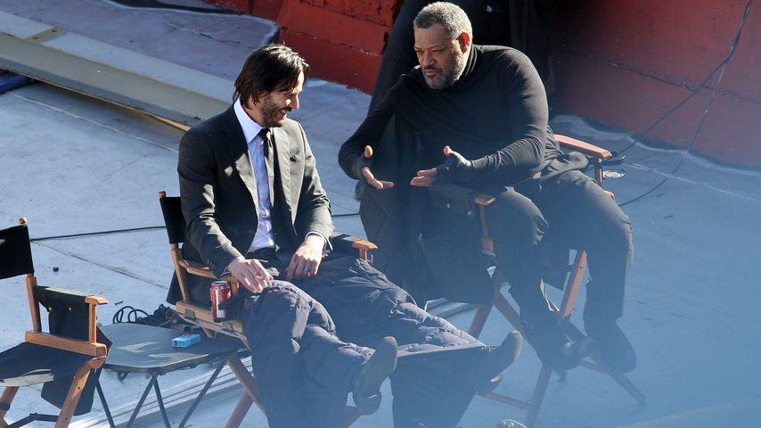 """Keanu Reeves und Laurence Fishburne beim Dreh von """"John Wick: Chapter 2"""""""