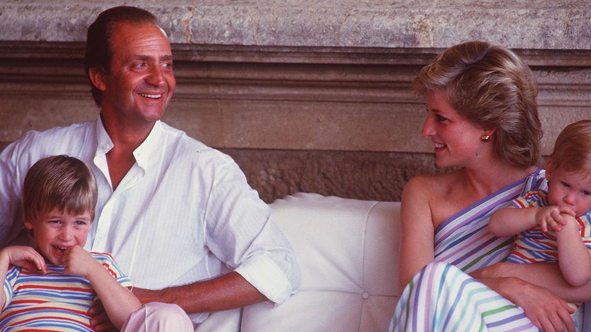 König Juan Carlos, Prinz William, Prinz Harry und Prinzessin Diana, 1986 auf Mallorca
