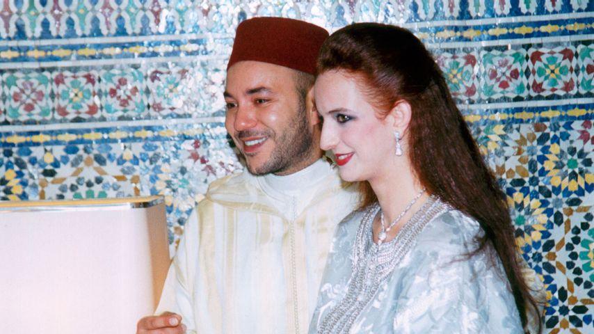 König Mohammed VI und Prinzessin Lalla Salma bei ihrer Hochzeit 2002