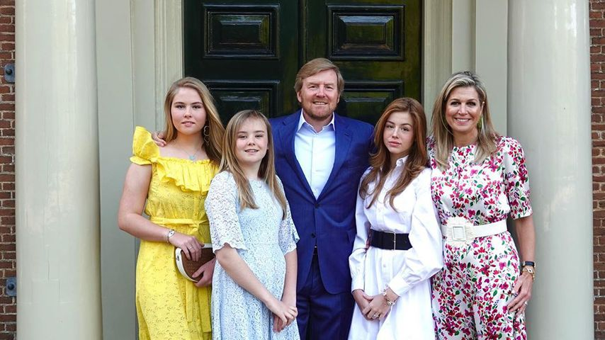König Willem-Alexander mit seinen Töchtern Amalia, Ariane und Alexia sowie seiner Frau Königin Maxim
