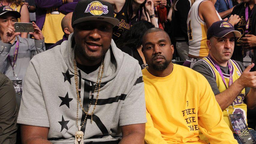 Lamar Odom und Kanye West bei einem Basketball-Spiel