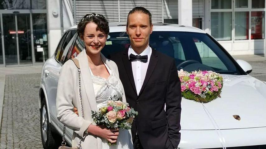 Laura Bräutigam und ihr Mann an ihrem Hochzeitstag
