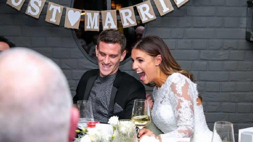 Laura Wontorra und ihr Mann bei der Hochzeit