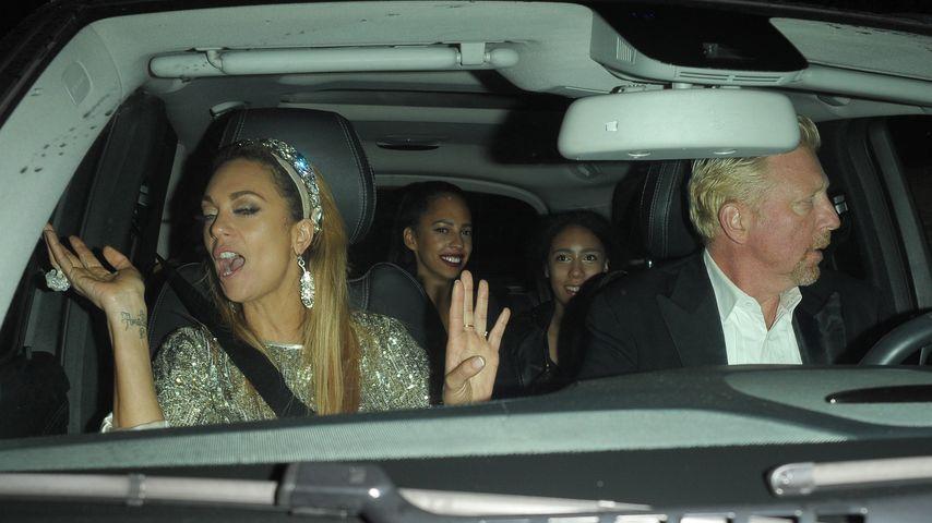 Lilly und Boris Becker im Auto nach Lillys 40. Geburtstag