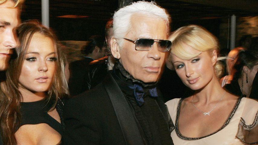 Lindsay Lohan, Karl Lagerfeld und Paris Hilton, 2006