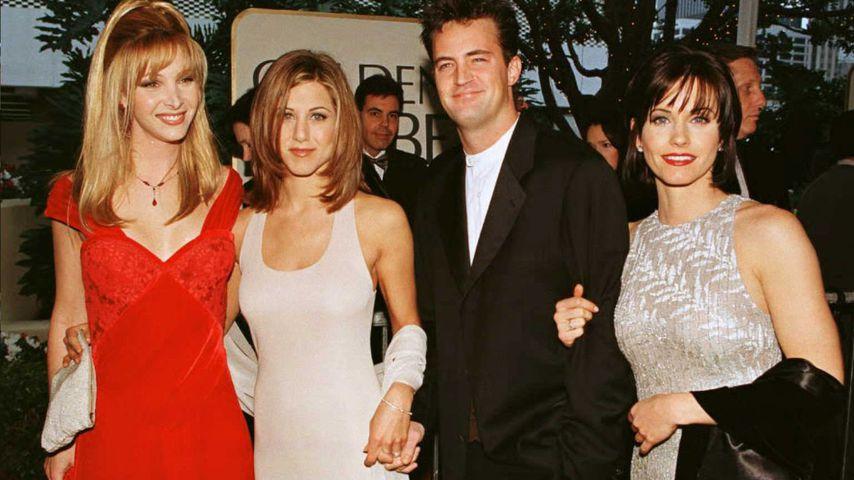 Lisa Kudrow, Jennifer Aniston, Matthew Perry und Courteney Cox im Januar 1996