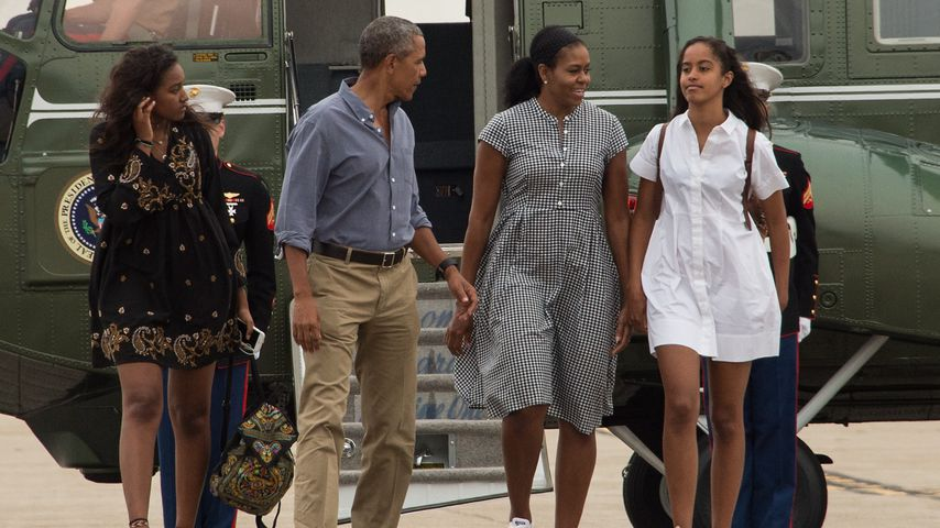 Malia, Barack, Michelle und Sasha Obama im August 2016