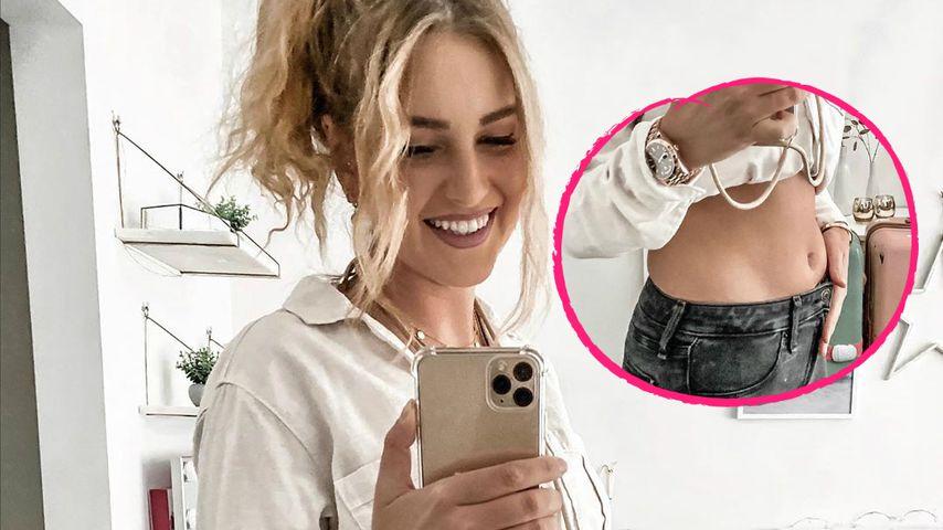 Große Vorfreude: Maren Wolf zeigt ihren Acht-Wochen-Bauch