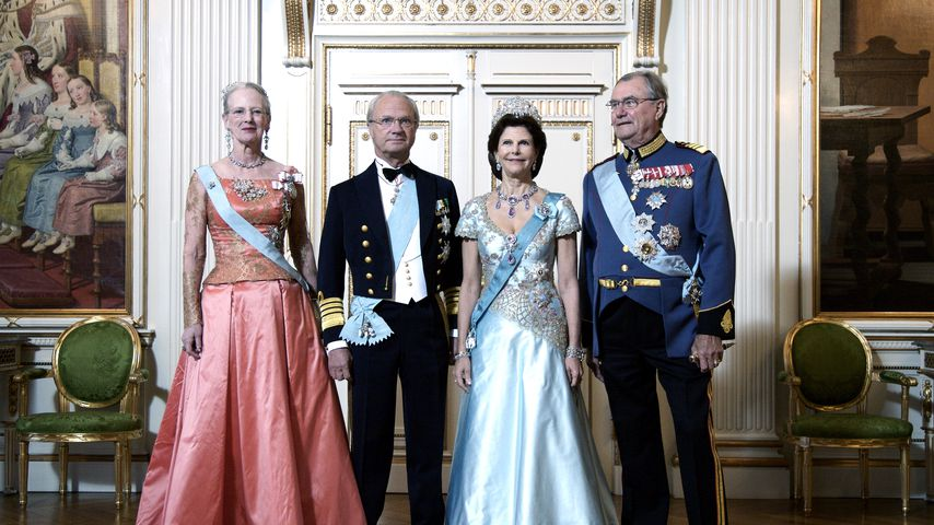 Königin Margrethe & Prinz Henrik (r.) von Dänemark mit Schwedens König Carl Gustaf & Königin Silvia