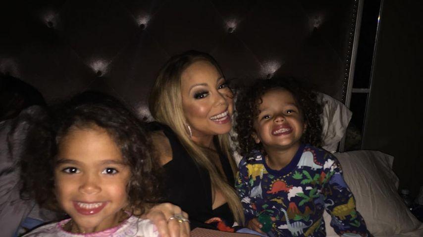 Mariah Carey mit ihren Zwillingen Monroe (li.) und Moroccan
